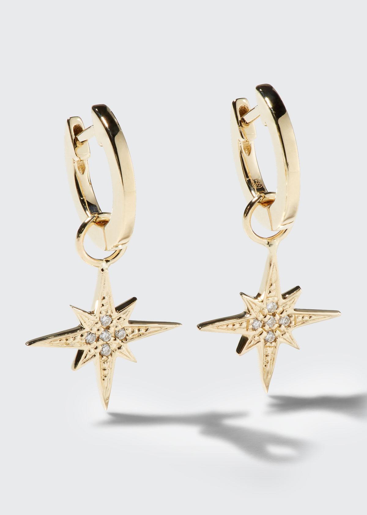 Sydney Evan 14K SMALL DIAMOND STARBURST HOOP EARRINGS