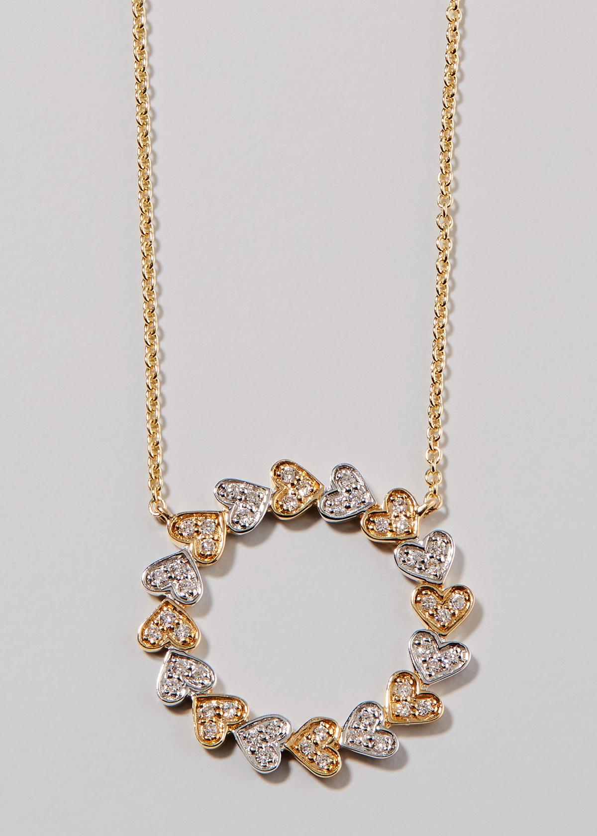 Sydney Evan 14K YELLOW & WHITE GOLD DIAMOND HEART CIRCLE NECKLACE