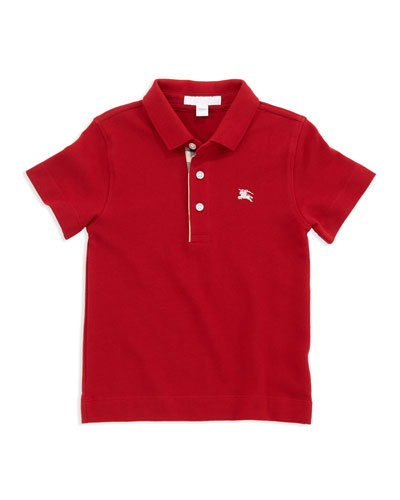 Linter Check-Trim Polo, Red, 4Y-10Y