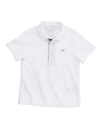 Lencel Check-Trim Polo, White, 4Y-10Y