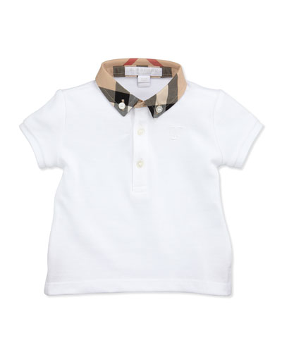 Mini Pique Polo Shirt, White