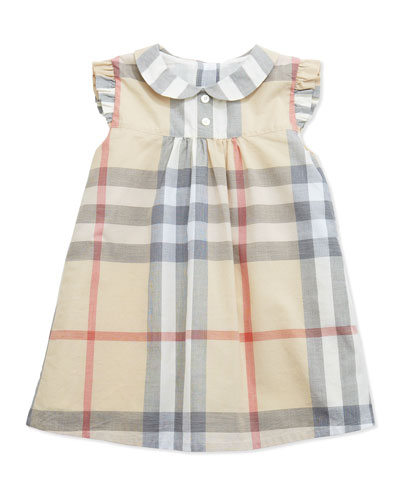 Davina Ruffle-Shoulder Check Dress, Paltrench, 3-24 Months