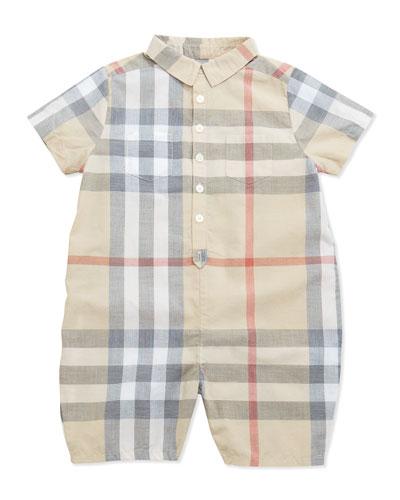 Kirk Infant Boys' Short-Sleeve Check Playsuit, 3-24 Months