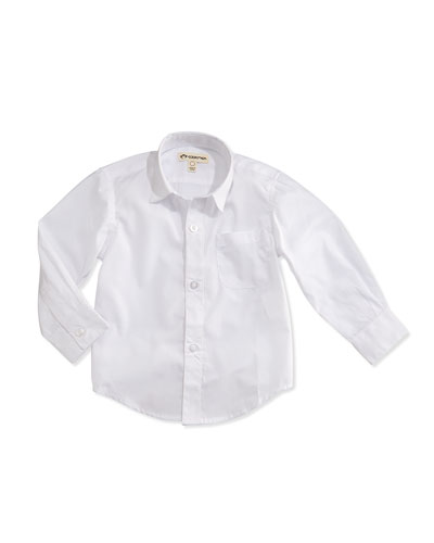 Solid Button-Down Shirt, White, 2T-14