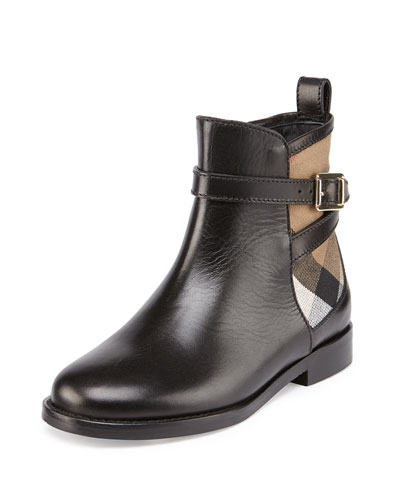 Richardon Leather and Check Ankle Boot, Black, Youth