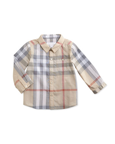 Trauls Check Button-Down Shirt, 3-24 Months