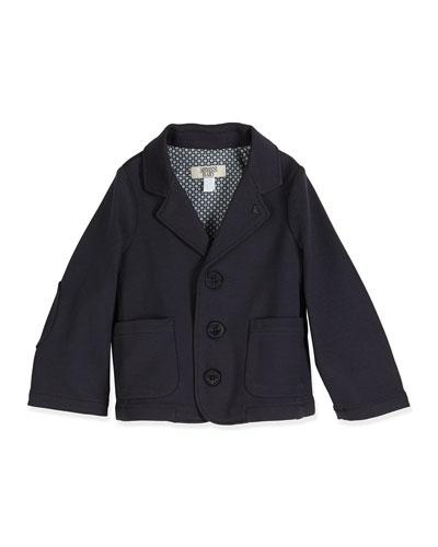 Stretch-Knit Three-Button Blazer, Indigo, Size 6-24 Months