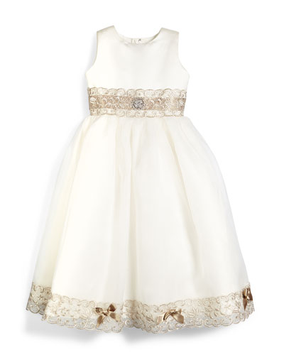 Sleeveless Metallic-Trim Satin & Tulle Dress, Ivory/Taupe, Size 7-14