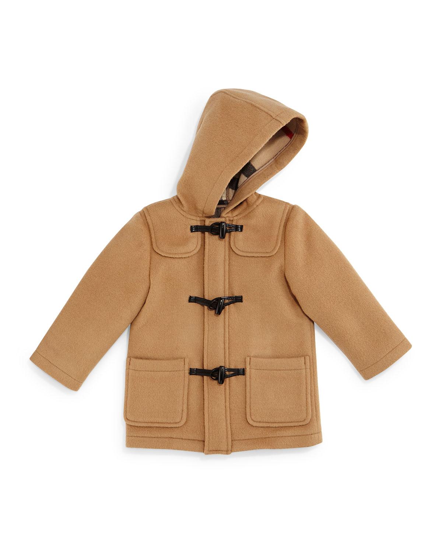 Brogan Hooded Duffle Coat, Camel, Size 3M-3Y