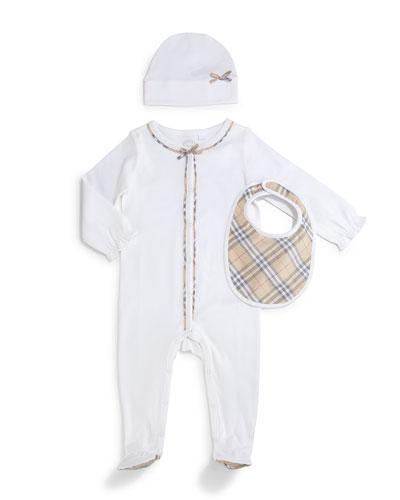 Jacey 3-Piece Footie Pajama Set, White, Size 1-24 Months