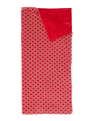 Kids' Plush Quatrefoil Sleeping Bag, Red
