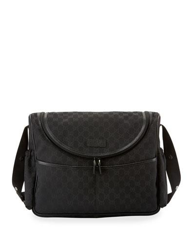 100a48a16ad9f7 Gucci Gg Canvas Leather Trim Diaper Bag In Black Modesens