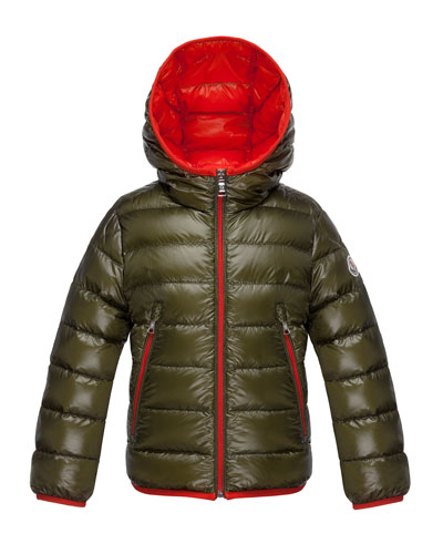 Mir Hooded Lightweight Down Puffer Jacket, Olive, Size 4-6