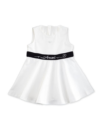 Sleeveless Belted A-Line Jersey Dress, White, Size 12-24 Months