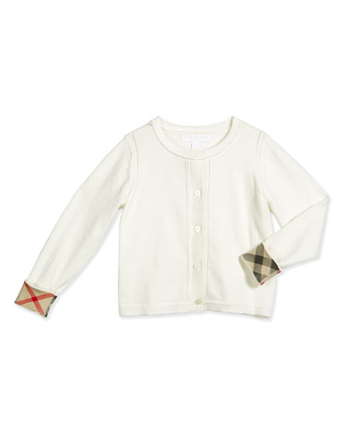 Rheta Cotton Button-Front Cardigan, White, Size 4-14