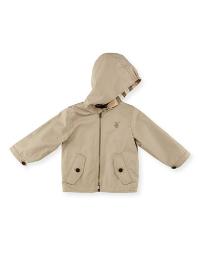Bryce Hooded Zip-Front Jacket, Taupe, Size 3M-3