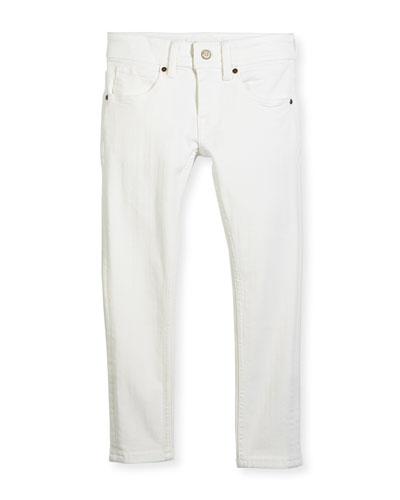 Skinny Stretch Denim Jeans, White, Size 4-14