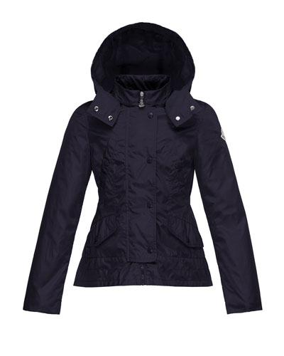 Ayrolette Hooded Raincoat, Dark Blue, Size 8-14