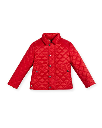 Luke Quilted Snap-Front Jacket, Bright Cherry Red, Size 4-14