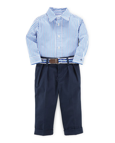 Striped Poplin Shirt w/ Pleated Pants, Blue, Size 9-24 Months