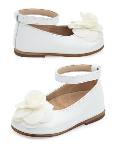 Leather Floral-Trim Ballet Flat, White, Toddler