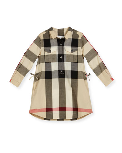 Darielle Long-Sleeve Check Shirtdress, New Classic, Size 4-14