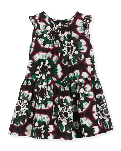 Yasmine Sleeveless Smocked Floral Dress, Deep Claret, Size 4-14