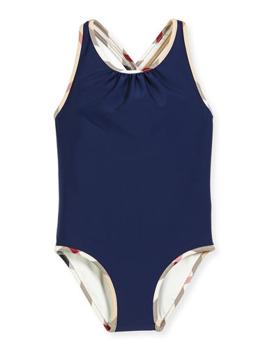 Beadnell Check-Trim One-Piece Swimsuit, Navy, Size 4-14