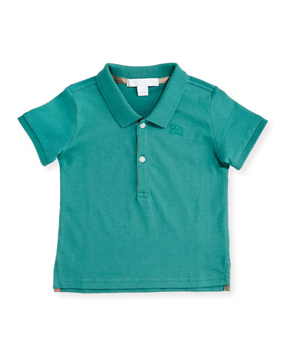 Palmer Pique Polo Shirt, Storm Green, Size 6M-3