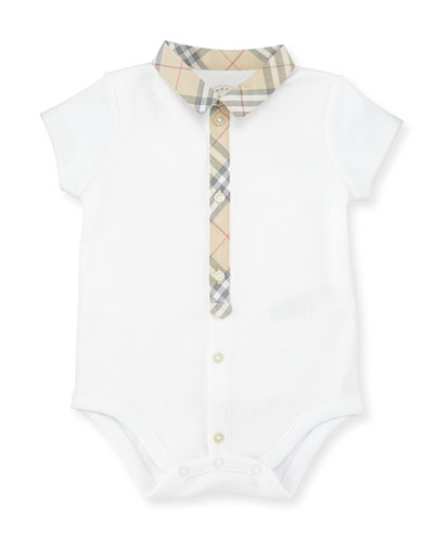 Tannar Check-Placket Jersey Playsuit, White, Size 3-24 Months