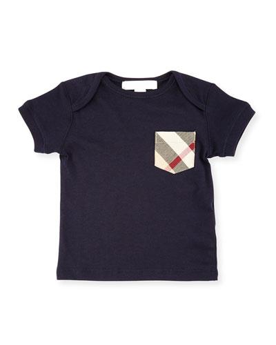 Callum Check-Pocket Jersey Tee, True Navy, Size 6M-3