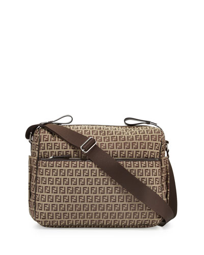 Leather-Trim Logo Diaper Bag, Brown
