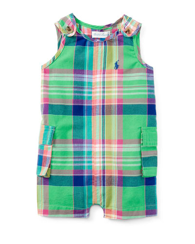 Madras Plaid Cotton-Blend Overalls, Green/Pink, Size 3-24 Months
