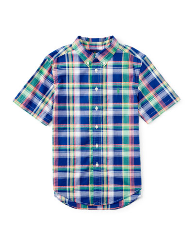 Short-Sleeve Madras Plaid Shirt, Blue/Green, Size 2T-4T