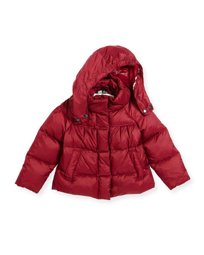 Daisey Hooded Down Puffer Jacket, Deep Plum Pink, Size 4-14