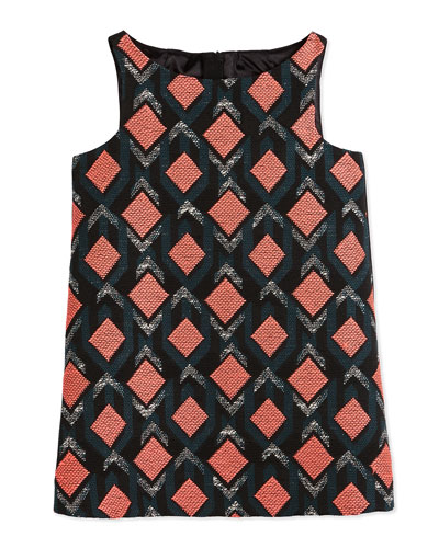 Sleeveless Diamond Jacquard Shift Dress, Multicolor, Size 8-14