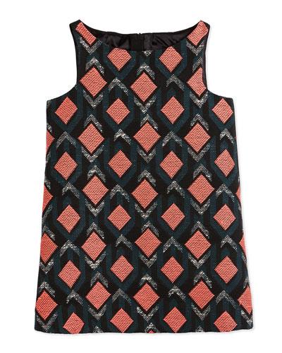 Sleeveless Diamond Jacquard Shift Dress, Multicolor, Size 4-7