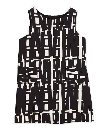 Sleeveless Linear-Print Shift Dress, White/Black, Size 4-7