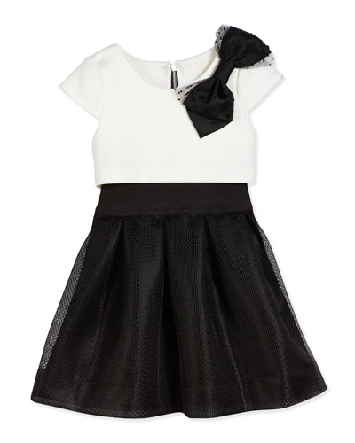 Park Ave Princess Flyaway Cap-Sleeve Scuba Combo Dress, Black/White, Size 2-6X