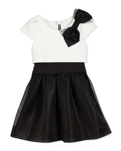 Park Ave Princess Flyaway Cap-Sleeve Scuba Combo Dress, Black/White, Size 7-16