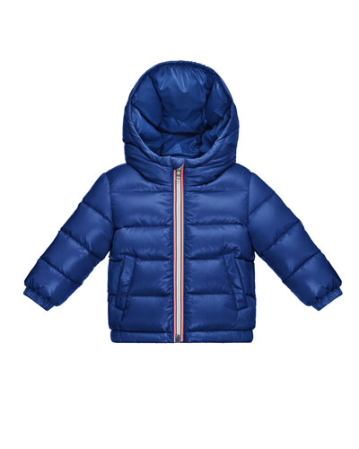 Aubert Quilted Zip-Front Puffer Jacket, Blue, Size 12M-3