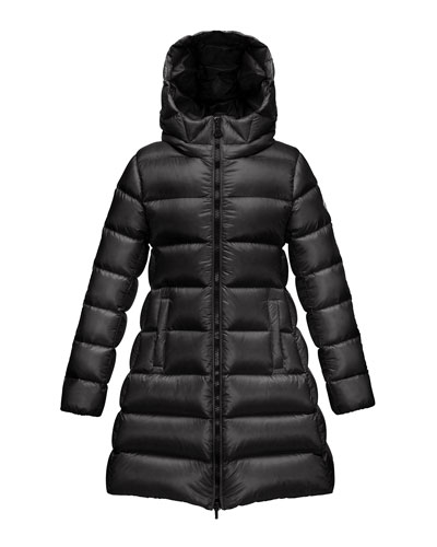 Suyen Hooded Long Puffer Coat, Black, Sizes 4-6