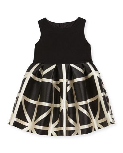 Sleeveless Ponte & Jacquard Combo Dress, Black/White, Size 4-6