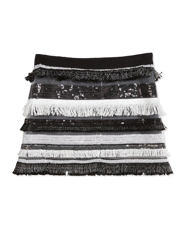 Sequin Tiered Fringe Mini Skirt, Black, Size 4-7