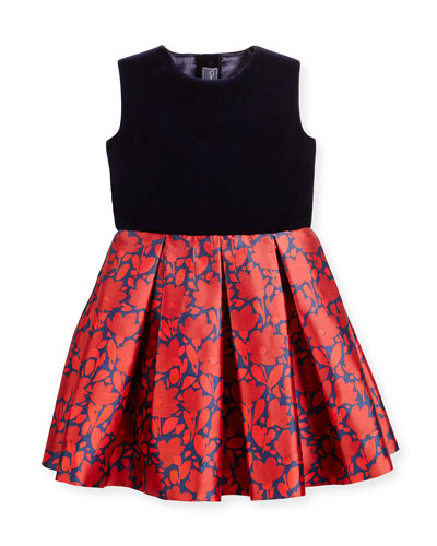 Sleeveless Velvet & Mikado Dress, Navy/Ruby, Size 12-24 Months
