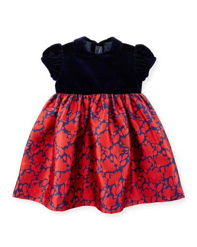 Cap-Sleeve Velvet & Mikado Dress, Navy/Ruby, Size 12-24 Months