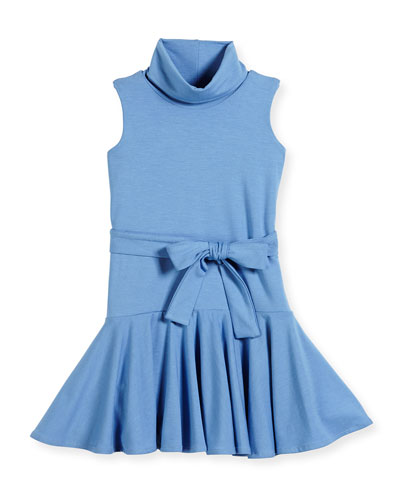 Sleeveless Fit-and-Flare Turtleneck Dress, Blue, Size 4-6