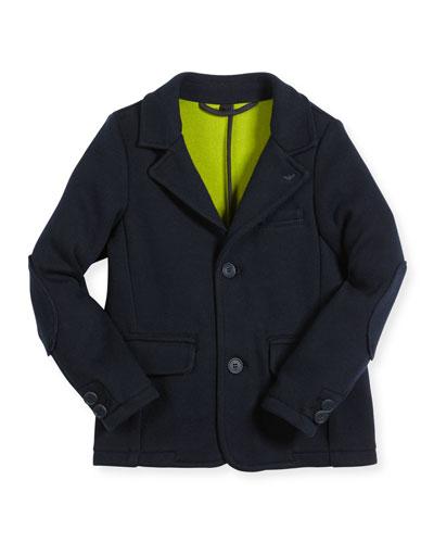 Classic Knit Jersey Blazer, Navy, Size 12M-3