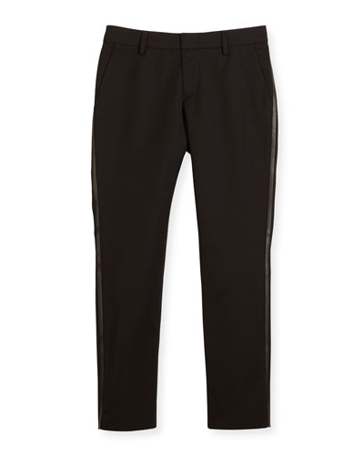 Tribe Faux-Leather-Trim Tuxedo Pants, Black, Size 7-12
