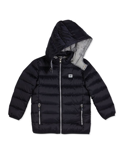 Hooded Down Zip-Front Puffer Coat, Navy, Size 4-12